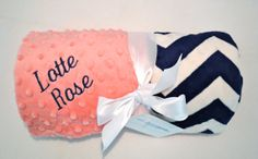 Monogrammed Minky Chevron  Baby Blanket -  Navy Blue and Coral Pink Personalized - Soft Zig Zag