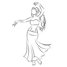 Line silhouette of young woman showing belly dance vector art illustration