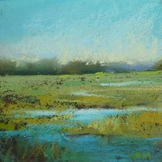 Using Fixative to Simplify a Pastel Landscape ..marshes, painting by artist Karen Margulis