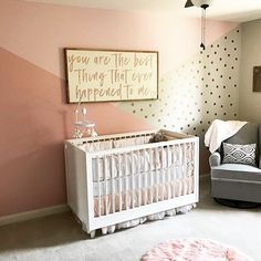 Wall color blocking dreams coming true in this super-sweet, girly nursery! Thanks for the tag, @caiteebug! Want your room featured? Tag #projectnursery.