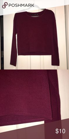 brandy melville maroon long sleeve crop shirt good condition! heavier than normal fabric but extremely soft and comfortable! fits like a size small Brandy Melville Tops Tees - Long Sleeve