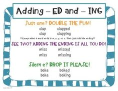 ED AND ING WORD ENDINGS: LEVELED CENTER ACTIVITIES - TeachersPayTeachers.com