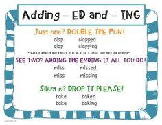 ED AND ING WORD ENDINGS: LEVELED CENTER ACTIVITIES - TeachersPayTeachers.com