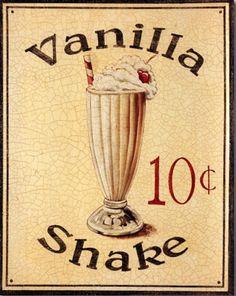 Vanilla Shake - Vintage sign