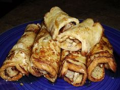 French Toast Roll Ups...  6 slices White Bread, 4 Eggs, 1/4 c. Whole Milk, 1/4 tsp. Cinnamon, 6 (or more) Sausage Links, Butter or Butter-flavored Cooking Spray... In a small skillet, place sausage links along with 1/4 C. water over medium heat. Cook till water evaporates and then roll links to brown. Remove from heat...