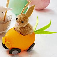 "What you'll need                 Blown-out white egg; orange food coloring; a bowl of white vinegar for dyeing; pushpin; scissors; orange, gray, green, black, tan, and pastel-pink felt; hot-glue gun and glue sticks; medium and large tan pom-poms; 2 black beads                 Make it: Car                 1. Dye egg orange and let dry.                 2. Break an opening in the middle of one side of the egg with a pushpin. Crack the opening so it's about 1 ?"" x 1 1/4"". Use the pushpin to…"