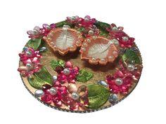 Cd Crafts, Diy And Crafts, Diwali Diya, Indian Crafts, Diwali Decorations, Cool Diy, Platter, Wedding Ideas, Gift Ideas
