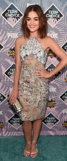 Actress Lucy Hale attends Teen Choice Awards 2016 at The Forum on July 2016 in Inglewood, California. Get premium, high resolution news photos at Getty Images Teen Choice Awards 2016, Metallic Dress, Silver Dress, Victoria Justice, Lea Michele, Cynthia Rowley, Adidas Superstar, Estilo Lucy Hale, Hollywood