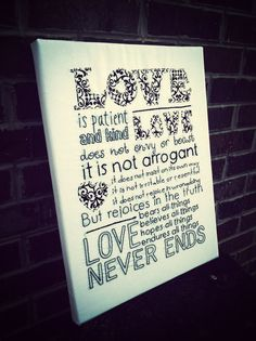 hand embroidered typgraphy: love is...1 Corinthians wall hanging inspirational scripture wall art//subway style//black and white. via Etsy.