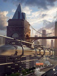 Retrofuturistic cityscape 3d modelling & visualization - Nazar Gnativ Matte painting - Aleksey Golovchenko #Retrofuture
