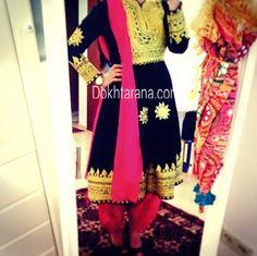 #afghan #traditional #dress #black #pink #beautiful
