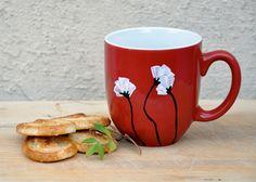 Red Coffee mug - White Poppies - made to order. $11.00, via Etsy.