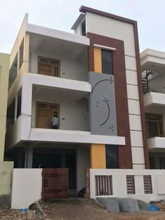 61 Apartment Buildings Designs By letshide Small House Exteriors, Modern Exterior House Designs, House Outer Design, House Front Design, 3 Storey House Design, Bungalow House Design, Narrow House Designs, House Design Pictures, Architectural House Plans