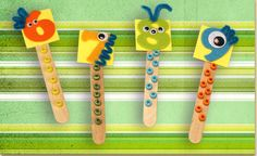 Counting Stick Monsters.   Decorate felt number stickers to look like monsters, then glue to a tongue depressor which includes the correct number of beads for that number. Children can practice identifying the number shapes as well as counting objects with these fun counting sticks.