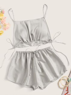 To find out about the Knot Detail Satin Cami Top & Shorts at SHEIN, part of our latest Sexy Lingerie ready to shop online today! Cute Sleepwear, Sleepwear Women, Pajamas Women, Night Outfits, Cute Outfits, Fashion Outfits, Fashion Styles, Steampunk Fashion, Gothic Fashion