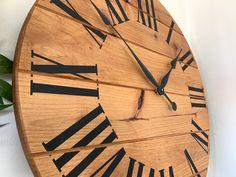 Made from solid alder. Handmade Wall Clocks, Black Clocks, Roman Numerals, Ships, Wood, Free, Bedroom, Boats, Woodwind Instrument