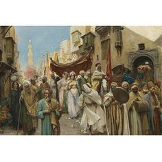 A Wedding Procession in Cairo. Fabio Fabbi, Italian 1861-1946 oil on canvas. An Egyptian wedding procession in all its celebratory glory. The bride, may walk under a rose-colored canopy, open to the front, which is carried on poles by four men, a party of musicians leading their way The various headgear of Fabbi's performers, and the individualized faces of two elderly passers-by, further demonstrate the artist's attentiveness to detail.