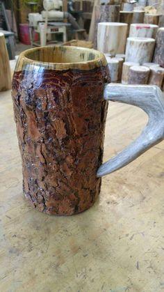 Wooden Beer Mug, Beer Stein, Woodturning, Wood Crafts, Carving, Etsy Shop, Mugs, Unique Jewelry, Tableware