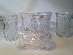 FOSTORIA Colony crystal swirl Juice glasses - Vintage tumblers unused set of 6 #FOSTORIA