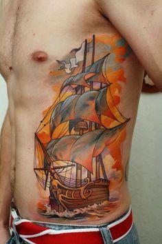 Ship tattoo, rib cage tattoo ship