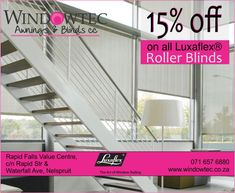 Windowtec sells interior blinds, exterior blinds, fabric awnings & shutters in Nelspruit, Mpumalanga. We are a Luxaflex® Gallery Store located at Riverside Industrial Park, Nelspruit. Exterior Blinds, Fabric Awning, Roller Blinds, Shutters, Led, Ranges, Fabrics, Beautiful, Blinds