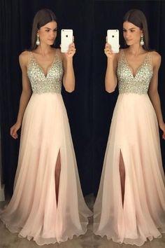 Beaded V Neck Open Back Long Chiffon Prom Dresses With Leg Slit-Pgmdress