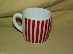 #HAZELATLAS CANDY STRIPE MUG RED MILK GLASS COFFEE TEA CUP A-7 VINTAGE RETRO #MCM