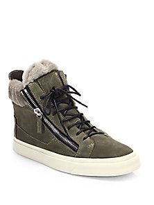 Giuseppe Zanotti - Suede & Shearling Double-Zip High-Top Sneakers