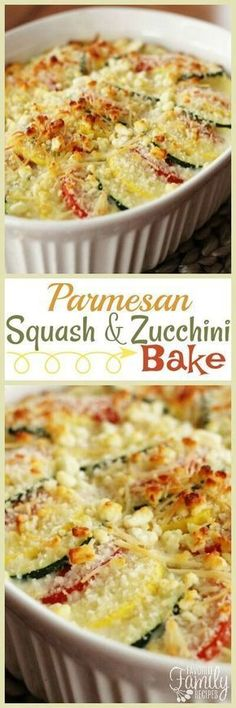 Parmesan Squash and Zucchini Bake is a perfect recipe for squash and zucchini from the garden. The squash is layered and coated with two kinds of cheese. via (Easy Baking Zucchini) Zuchinni Recipes, Vegetable Recipes, Vegetarian Recipes, Cooking Recipes, Healthy Recipes, Vegetarian Appetizers, Vegetarian Tapas, Paleo Meals, Fast Recipes