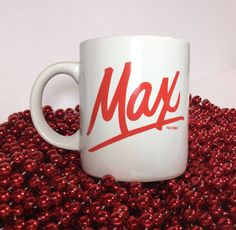 Vintage Max mug MAX coffee mug Retro red Maxwell House coffee