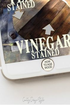 How to age wood. One of about 50 projects created using ironed vinegar and steel wool. Steel Wool And Vinegar, Vinegar Stain, White Vinegar, Old Barn Wood, Weathered Wood, Woodworking Jobs, Easy Woodworking Projects, Woodworking Furniture, Dining Rooms