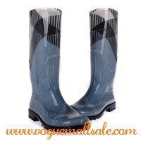 Burberry Women House Check Rain Boots Pattern Blue