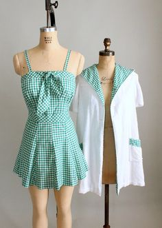 Vintage Late 1940s Gingham Swimsuit with Terrycloth Cover Up | Raleigh Vintage