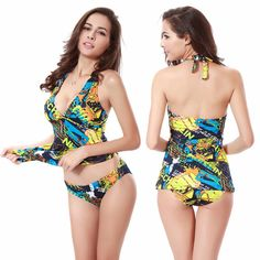 2de1f2c6acb2e Ties Neck Halter Closured Bottom Hot Bathing suits 2016 Vintage Prints Plus  size Women Swimsuits Tankini M.