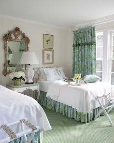 plain coverlet, monogrammed shams - Designer Notebook by kathryn greeley north carolina interior designer and author presents guest bedrooms