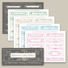 BOTANICAL LABEL PANEL DESIGNS BY CATHE HOLDEN....Floral flavor labels...Using the directions below, these free label designs can be filled digitally with your custom text or left blank for handwriting or rubber stamping. Print the designs to full-sheet label stock and trim out each panel individually as preferred.