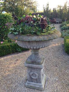 Mooie vazen in onze tuin in herfstsfeer