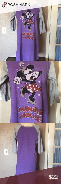 Disney Parks Sleepy Minnie Mouse night shirt Washed not worn.  Ladies size XL soft 3/4 sleeve baseball type shirt. Intimates & Sleepwear Pajamas