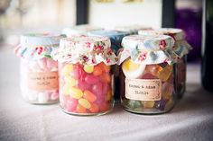 Colourful Crafty Cath Kidston Wedding Sweet Favours Jam Jars http://www.fitzgeraldphotographic.co.uk/
