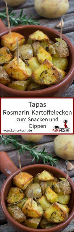 Kartoffelspalten passen nicht nur als Beilage zum Steak - diese kleinen Rosmarin-Kartoffelecken machen sich auch wunderbar als Tapas zum Snacken und Dippen für euren nächsten spanischen Abend. Das Rezept für die kleinen Häppchen gibt es auf katha-kocht!