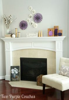 Light, natural textures and wood tones paired with pretty purples create a bright and non-traditional palette for Fall decorating. via www.twopurplecouches.com