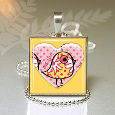 Yellow and pink Valentine pendant