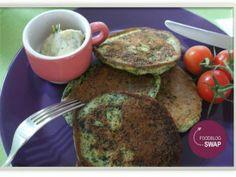 Spinaziepannenkoekjes met limoenboter  #glutenfree #glutenvrij #foodblogswap #ageetheetenkookt #mustbeyummie.com #healthy lunch #healthy food #green pancakes