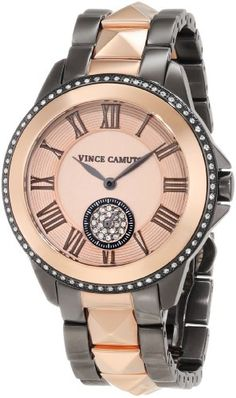 Vince Camuto Women%27s VC%2F5049RGTT Swarovski Crystal Accented Gunmetal and Rose Gold-Tone Bracelet Watch