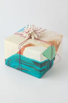 Marble gift wrap. So cool! Makes a perfect unisex gift wrap.
