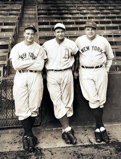 Lou Gehrig (Yankees), Jimmie Foxx (Philadelphia A's) and Babe Ruth (Yankees)