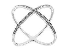 14k White Gold Diamond X Ring Style ID#10553