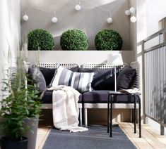 small balcony design ideas stylish modern home exterior bench gray upholstery pl. - small balcony design ideas stylish modern home exterior bench gray upholstery plants - Outdoor Furniture Sets, Decor, Furniture, Interior, Balcony Furniture, Outdoor Space, Outdoor Rooms, Home Decor, Apartment Balcony Decorating
