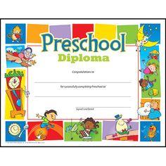 Preschool Diploma Pre-K–K Certificates & Diplomas