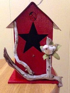Rustic Birdhouse License Plate Birdhouse, Driftwood Birdhouse, Primitive Birdhouse, Rustic Red Birdhouse, Housewarming Gift by BelleMistique on Etsy https://www.etsy.com/listing/231379299/rustic-birdhouse-license-plate-birdhouse